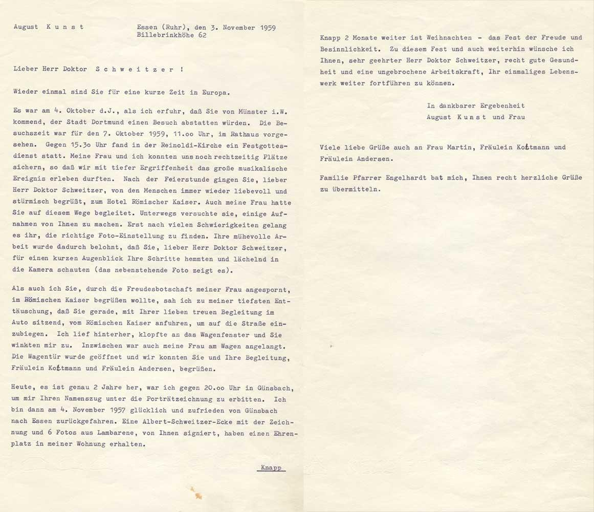 Letter to Albert Schweitzer - 1959