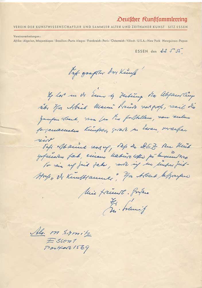 Letter from the Deutsche-Kunstsammlerring -1955